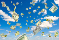 Money from the sky. Royalty Free Stock Image