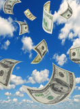 Money in the sky, vertical composition. Royalty Free Stock Photo