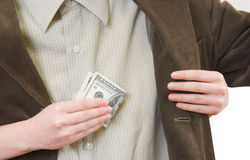 Money slips away. The first salary slips away by some reasons Stock Image