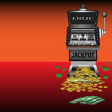 Money and slot machine vector illustration