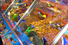 Money in slot machines. Piles of coins behind perspex of modern amusement slot machine Stock Photography