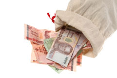 Money in a small sack Royalty Free Stock Photography