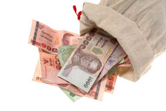 Money in a small sack Stock Photography