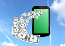 Money from smartphone Stock Photo