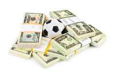 Money and soccer ball royalty free stock image