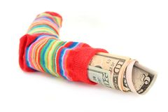 Money sock Stock Photo