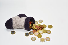 Money in sock. Abstract composition Stock Photography
