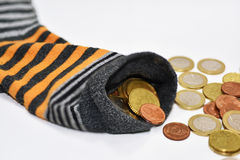 Money in sock. Royalty Free Stock Images
