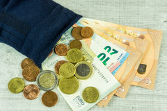 Money socks as piggybank Royalty Free Stock Photo