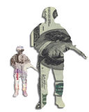Money soldier currency dollars pound sterling. Money soldier, currency at war or protection of market concept. dollar bill in shape of military army trooper with stock images