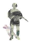 Money soldier currency dollars pound sterling. Money soldier, currency at war or protection of market concept. dollar bill in shape of military army trooper with royalty free stock images