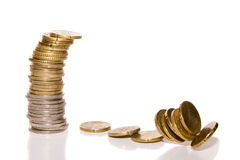 Money. Some Euro and Cent stacked Royalty Free Stock Photos