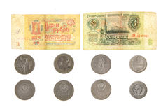 Money soviet coins roubles lenin isolated. Heritage paper metal Stock Photos