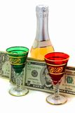 Money is spent for wine Royalty Free Stock Image