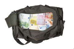 After. Money in a sportbag with clipping path Royalty Free Stock Images
