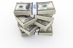 Money stack. 3d rendering of a stack of 100 dollar bills Stock Photos