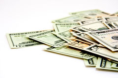 Money stack. Closeup of a stack of 5, 10 and 20 Dollar bills from low view Royalty Free Stock Photo