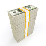 Money stack. US dollars banknotes money stack on white Royalty Free Stock Images