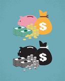 Money. Stack of money, bag and piggy bank Stock Illustration