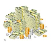 Money stack banknotes and coins concept Royalty Free Stock Images