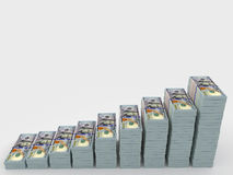 Money stack with blank space for text. Finance concepts. Big money stacks from dollars with blank background for your text Royalty Free Stock Photo