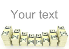 Money stack with blank space for text. Finance concepts Royalty Free Stock Image