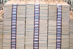Money stack. Bundles of money stacked on top of each other Royalty Free Stock Image