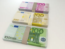 Money stack of Euro. 3d image royalty free stock photos
