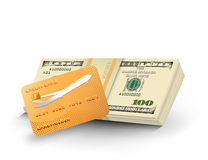 Money stack with gold credit card Stock Images