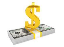 Money stack with gold dollar sign Stock Photo