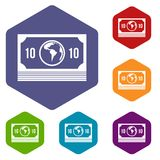 Money stack icons set hexagon. Isolated vector illustration Royalty Free Stock Photography