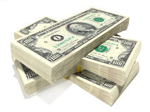 Money. Stack of one hundred us dollars Stock Photo