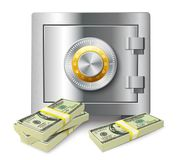 Money stack and safe concept Stock Photography