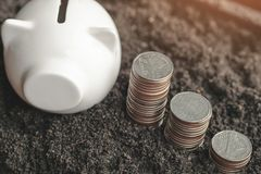 Money stack step up growing growth saving money with icons about business strategy on image royalty free stock image