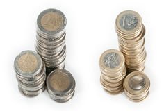 Money stacks (1 Euro and 2 Euro) Stock Image