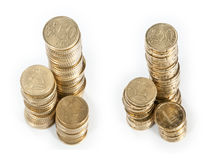 Money stacks (20 Cent and 50 Cent) Royalty Free Stock Photography