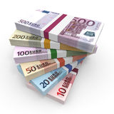 Money stacks of euros. Money stacks. Euro bank notes. 3D illustration Royalty Free Stock Images