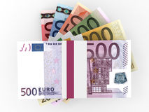 Money stacks of euros. Money stacks. Euro bank notes. 3D illustration Royalty Free Stock Photography