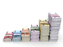 Money stacks graph. Euro bank notes. 3D illustration Stock Photography