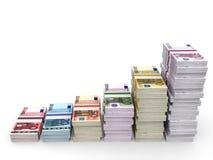 Money stacks graph. Euro bank notes. 3D illustration stock illustration
