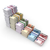 Money stacks graph. Euro bank notes. 3D illustration Royalty Free Stock Photo
