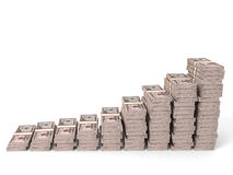 Money stacks graph. Fifty dollars. 3D illustration Stock Photography
