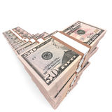 Money stacks graph. Fifty dollars. 3D illustration Stock Image