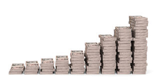 Money stacks graph. Fifty dollars. 3D illustration Royalty Free Stock Images