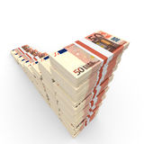 Money stacks graph. Fifty euro. 3D illustration Stock Images