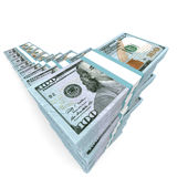 Money stacks graph. New one hundred dollars. 3D illustration Royalty Free Stock Photo