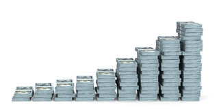 Money stacks graph. New one hundred dollars. 3D illustration Royalty Free Stock Images