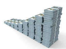 Money stacks graph. New one hundred dollars. 3D illustration Stock Photography