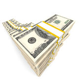 Money stacks graph. One hundred dollars. 3D illustration Royalty Free Stock Image