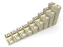 Money stacks graph. Royalty Free Stock Photography